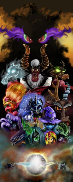 Updated:- Added some more details to villains, made the ghost in the back look a little more. Added more detail to goat demon m. MLP villains (taken from remake) Mlp, Watch The Originals, My Little Pony, Comic Art, Nerd, Batman, Superhero, Anime, Fictional Characters