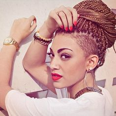 Light Brown Box Braids with Shaved Sides