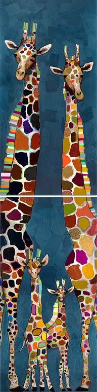 Giraffe Family of Four Diptych by Eli Halpin Graphic Art on Canvas