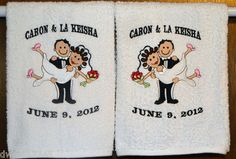 BRIDE & GROOM- WEDDING- 2 EMBROIDERED HAND TOWELS by Susan