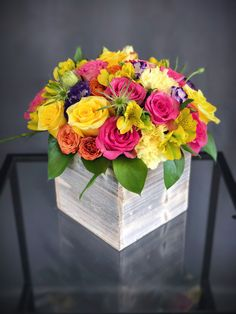 Send - Bright Wood Box Arrangement Large in Hallandale Beach, FL from K&K Flowers, the best florist in Hallandale Beach. All flowers are hand delivered and same day delivery may be available. Spring Flower Arrangements, Flower Centerpieces, Floral Arrangements, Church Wedding Flowers, Cheap Wedding Flowers, Wedding Ceremony, Fresh Flowers, Colorful Flowers, Spring Flowers