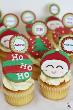 Christmas Cupcakes Vanilla Cupcakes with Cream Cheese Frosting Christmas themed icing cookies
