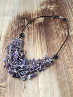 Amethyst Necklace, Beaded Necklace, Necklaces, Perfect Gift For Her, Gifts For Her, Bohemian Necklace, Hand Crochet, Natural Gemstones, Sterling Silver