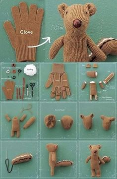 Vintage style teddy bear {?} from a glove {looks like a squirrel to me.... }