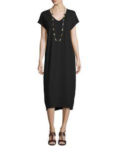 Eileen Fisher Cap-Sleeve V-Neck Jersey Dress
