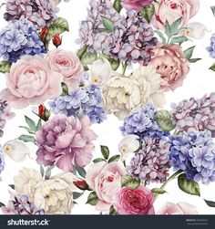 Seamless Floral Pattern With Roses, Watercolor. Imagen de archivo (stock) 344799425 : Shutterstock