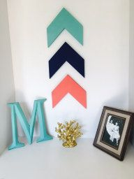 Set of 3 Chevron Arrows - Coral Arrows - Navy Arrows - Teal Arrows - Wall Decor - Wooden Arrow Decor - Tribal Decor Chevron, Teal Coral, Mint Gold, Turquoise, Wooden Arrows, Arrow Decor, Home Decoracion, Tribal Decor, Big Girl Rooms