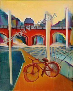 Original Oil Painting of the Artist Christin Lutze; Title: Old bicycle  Original Gemälde der Künstlerin Christin Lutze, Titel: Altes Fahrrad  available under http://verynewart.com/Christin-Lutze--Painting-Old-bicycle #kunst #art #oelgemaelde #oil painting