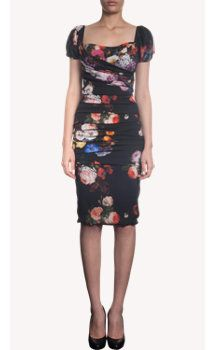 Dolce & Gabbana Flower Print Cap Sleeve Dress