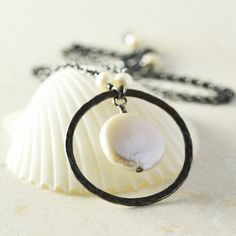 Coin Pearl Circle Necklace White Pearl Necklace June by NansGlam, $48.00