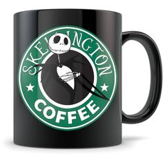 The Nightmare Before Christmas Mug Funny Starbucks Parody Coffee Cup... ($17) ❤ liked on Polyvore featuring home, kitchen & dining, drinkware, drink & barware, grey, home & living, mugs, christmas cups, jack skellington cup and xmas cups