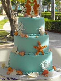 Cakes by Take the Cake Bakery on Grand Bahama Island. Part of a Grand Lucayan Wedding