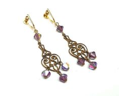 Holiday 2015 Sale - Marked Down 20% ! #GiftIdeas Holiday Sale!!!  Victorian Revival Dangling Designer 1928 Earrings - Screwback Dangling Hearts with AB Crystal Beads offered by TheJewelSeeker.  This lovely pair of earring... #vintage #jewelry #teamlove #etsyretwt #ecochic #thejewelseeker