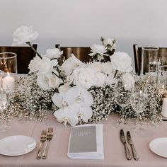 Fluffy clouds of pure white simplicity. Wedding Table Flowers, Wedding Table Settings, Floral Wedding, Wedding Colors, White Roses Wedding, Decoration Table, Reception Decorations, Flower Decorations, Wedding Centerpieces