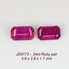 JD9173 - .54ct Ruby - Mozambique 4.9 x 2.9 mm matching pair eyeclean,nice cut, perfect for side stones or earrings, heat only, $125 shipped