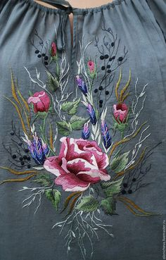 Blouses handmade. Order Exclusive grey blouse with hand embroidery 'rose and lavender'. KVITKA. Livemaster. Embroidered blouse