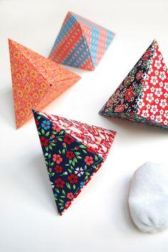 Simple origami triangular box