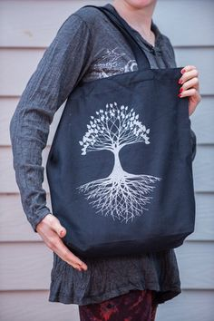 NEW Recycled Cotton Canvass Shopping Tote Bag Tree Of Life Silver on B | Sure Design