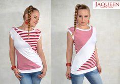 Sweatshirts - Shirt Streifen rot weiß - ein Designerstück von JAQUEEN-handmade-streetwear-berlin bei DaWanda