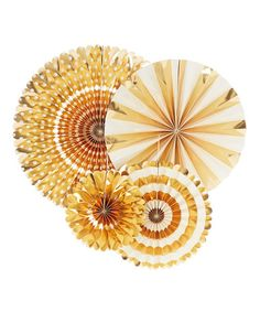 Look at this #zulilyfind! Gold Party Fan Set #zulilyfinds
