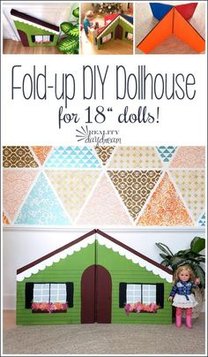 DIY Collapsible Dollhouse for Dolls - Reality Daydream American Girl Furniture, Ag Dolls, Girl Dolls, Doll Furniture, Dollhouse Furniture, Kids Furniture, Dollhouse Dolls, Doll Accessories, Daydream