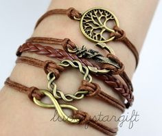 Bronze lei lovely cool anchor infinity wishes tree & bracelet with brown strap brown leather woven fashion bracelet-Q178 by luckystargift, $6.39