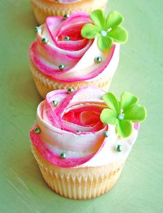 pink with green flowers and pearls. Cute for a Tinker Bell Party