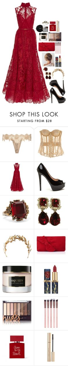 """""""GOWN #13"""" by fran-peeters ❤ liked on Polyvore featuring Rosamosario, Elie Saab, Alexander McQueen, Laurel Wreath Collection, L.K.Bennett, Chanel, Bella Freud and Dolce&Gabbana"""