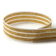 5 yards 7/8' Tri-stripe White and Gold Woven Grosgrain Ribbon Good Crafted DIY Ideas *** For more information, visit image link.