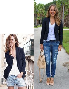Navy Blazer + Jeans (not ripped for biz casual)