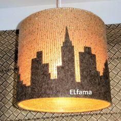 handmade wool lamp with skyscrapers