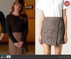 Rachel's asymmetric zip skirt on Glee.  Outfit Details: http://wornontv.net/45402/ #Glee