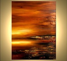 Original Contemporary Abstract Landscape Painting Textured Acrylic Gold, Rust, Brown The Light by Osnat