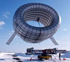 Inflatable wind turbine (Airborne Wind Turbine, AWT) by Altaeros Energies