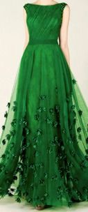 Green Formal Dress with Flowers
