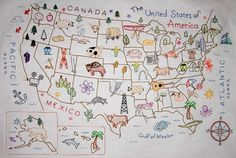 Map of the United States Embroidery Pattern by Theflossbox on Etsy, $5.50
