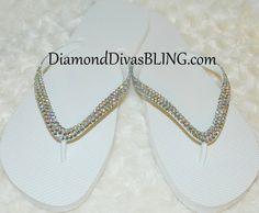 white rhinestone sandals www.DiamondDivasBLING.com ♥ LIKE ♥ our page today! ♥ www.facebook.com/DiamondDivasBLING ♥ Rhinestone Sandals, 3 Shop, Flip Flops, Bling, Facebook, Shoes, Fashion, Moda, Jewel