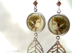 Autumn is magic  Illustrated earrings by movezerb on Etsy, €19.00