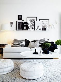 Black and white interior inspiration - the plants add a pop of natural colour