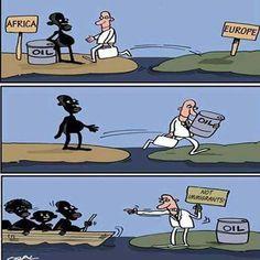 Gutierrez-Gomez Osvaldo Africa and Europe Political Art, Political Events, Political Cartoons, Refugees, Satirical Illustrations, Funny Memes, Jokes, Reality Of Life, Social Art