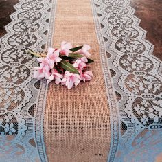 8ft Burlap Lace Runner Wedding Table Runner with Grey Lace, 15in Wide x 96 in Long, Rustic, Chic, Wedding Decor