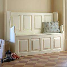 Bourton Pine Large Ivory Storage Bench (M321) with Free Delivery | The Cotswold Company £299