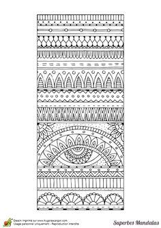 Coloriage d'un superbe mandala avec une forme de tapis rectangulaire - Hugolescargot.com