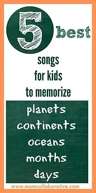 The best songs to help kids memorize the planets, oceans, continents, months, and days of the week.