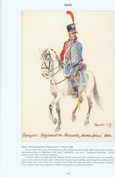 """Spain: Plate 3. Hussar Regiment """"Maria Luisa"""", Private, 1806"""