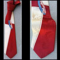 1950s Silk Damask Wide Vintage Necktie Bold Mid Century Graphics Sophisticated