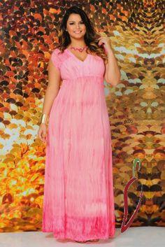 www.tamanhosespeciais.com.br Vestido Longo de Festa Tie Dye 48 50 52 54 moda feminina plus size
