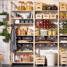 Storage shelves ikea basements New ideas Ikea Pantry, Pantry Shelving, Pantry Storage, Ikea Kitchen, Kitchen Organization, Kitchen Storage, Garage Storage, Storage Organization, Storage Ideas