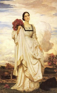 Frederic Leighton: The Countess Brownlow look at the folds on the dress. Lady of the Bedchamber to Adelaide of Saxe-Meiningen, The position is the person holding the official position of personal attendant on a British queen or princess. Frederick Leighton, Rose Croix, Pre Raphaelite Paintings, Portraits, Oil Painting Reproductions, Victorian Art, Art Plastique, Female Art, Art History