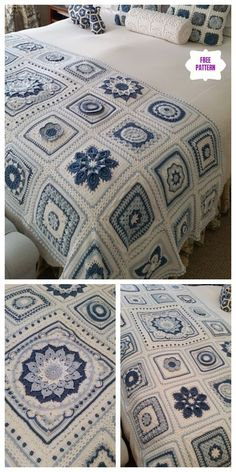 Crochet Afghans, Crochet Motifs, Afghan Crochet Patterns, Crochet Stitches, Blanket Crochet, Knitting Patterns, Free Knitting, Crochet Bedspread Pattern, Crochet Squares Afghan